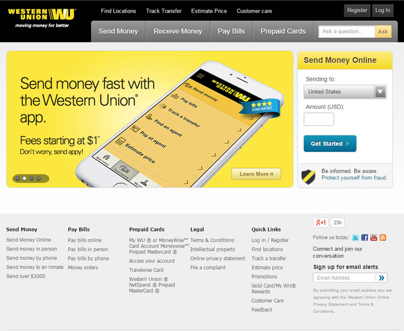 how to use western union online