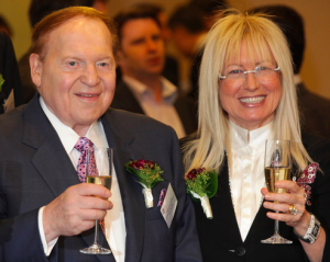 Sheldon Adelson may be outspent by Caesars in the online gambling lobby, but he and his wife Miriam have donated millions to Republican causes.