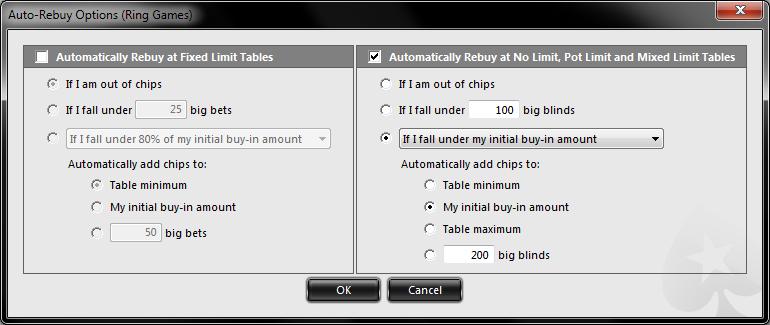 PokerStars auto top-up screenshot
