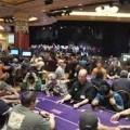 Two poker players fight inside Harrah's New Orleans poker room.