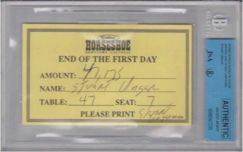 Stu Ungar chip count card eBay auction
