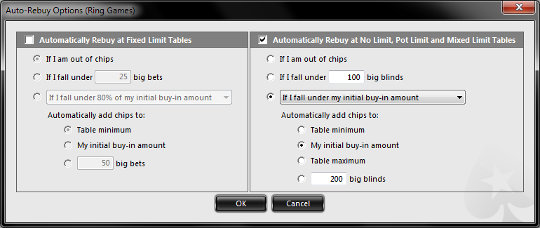 PokerStars auto top-up screenshot