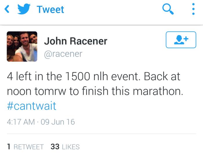Racener tweet WSOP 2016